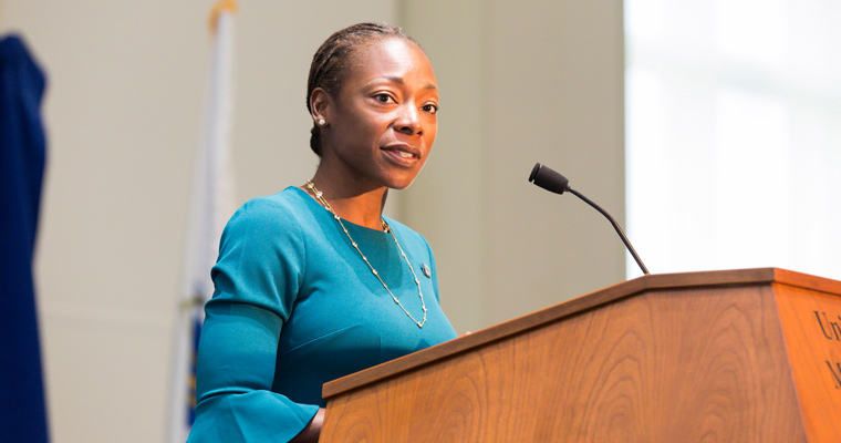 Dimock's Myechia Minter-Jordan Delivers Message of Diversity, Cultural Leadership at UMass Boston